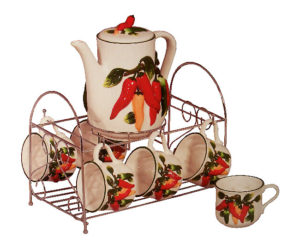 Chilie Pepper 7-pc Ceramic tea set with Metal Stand